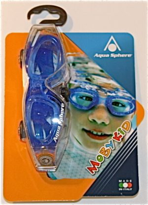 Aqua Sphere Moby Kids Childrens Swimming Goggles Clear Lens Blue
